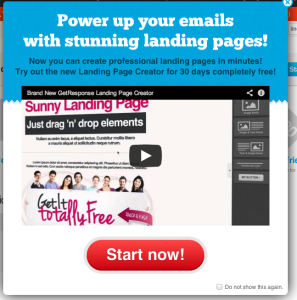 getresponse landing page upsell 297x300 SaaS Churn Rate: Go Negative with Expansion Revenue