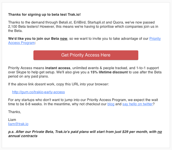 email with priority access CTA